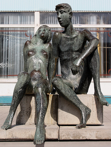 """Young couple"" by Prof. Martin Wetzel, Bronze, 1967"